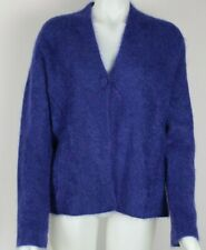 Eileen Fisher Wool Mohair Blend Purple Fuzzy One Button Cardigan Sweater Large