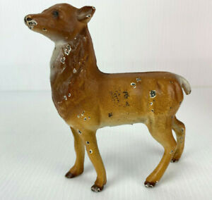 VINTAGE CAST IRON FAWN DEER DOE STANDING STAG COIN PENNY BANK - ORIGINAL PAINT!