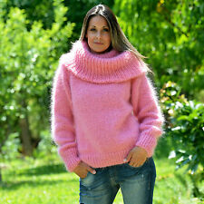 ❤ EXTRAVAGANTZA ❤ Hand Knitted Mohair Sweater Fuzzy PINK Dress Cowlneck Pullover