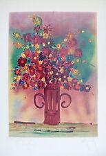 Gérard Economos Lithographie originale signée bouquet de fleurs Cocteau