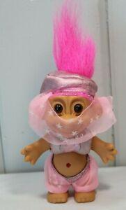 "Vintage Russ 5"" Genie Harem Girl Troll Doll Belly Dancer Hot Pink Hair"