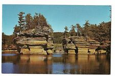 SUGAR BOWL Rock Island Formation Lower DELLS Wisconsin From Boat Postcard WI