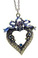 Vintage Art Deco stile bronzo fiore a fiocco collana a cuore