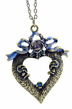 Vintage Art Déco estilo bronce lazo de flores collar corazón