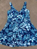 Maxine Of Hollywood Women's Size 14 Floral Swim Dress One Piece Swimsuit Lined