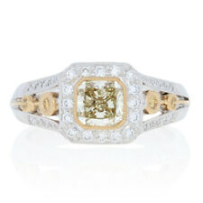 NEW 1.47ctw Radiant Cut Diamond Ring - 900 Platinum & 18k Gold Halo Engagement