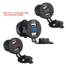 12V Car VAN RV Bus Truck Dual USB Charger Socket Adapter with LED Voltmeter