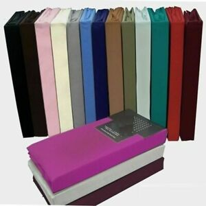 Plain Dyed Polycotton Duvet Cover Fitted Flat Fitted Valance Base Valance Sheets