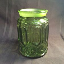 Vintage Canister Jar Moon and Star Pattern Green Glass ( N1 ) zz No Lid