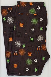 TC2 LuLaRoe Leggings Halloween 2021 Spiderweb Skulls Cats Frankenstein Gray 30