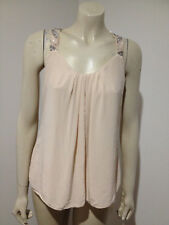 Forever New 100% Silk Beaded Sleeveless Nude Beige Blouse Size 8