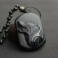 Chinese Natural Obsidian Hand-Carved Lucky Wolf Black Necklace Pendant Beads