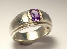 Fine Lovely Chunky Sterling Silver & Amethyst Dress Ring UK Size O 6.9g