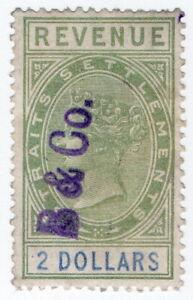 (I.B) Malaya (Straits Settlements) Revenue : Duty Stamp $2 (B&Co pre-cancel)