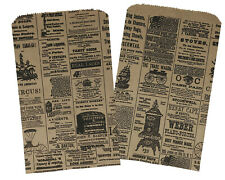 25 6x9 Newspaper Print Paper Kraft Bagsvintage Style Newsprint Favor Craft Bags