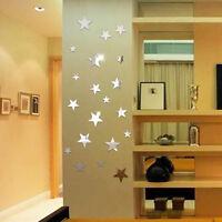 20 X Stars Art Mirror Wall Sticker Acrylic Surface Decal Home Room DIY Art Decor