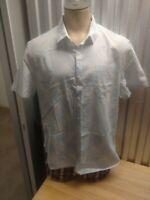 Men's XXL Short Sleeve Penguin Munsingwear Blue Checked Button Up Shirt Slim Fit