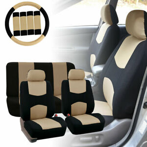 Car Seat Covers for Auto Beige w/ Steering Wheel/Belt Pads/Head Rests