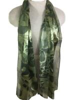 fashion scarf long neck 14 x 60 green floral stripe sheer polyester