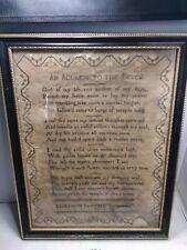 Framed Antique Sampler 1822 Sawtell