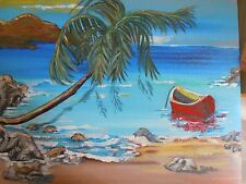 Ocean, Sea, Waves, Boat, Palm Tree, Island Acrylic Painting, Signed NOT A PRINT!