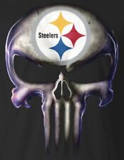 (2) Pittsburgh Steelers Punisher Skull Vinyl Stickers 5x3.7 Car Window Decal NFL