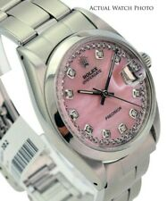 Rolex OysterDate  Stainless steel Pink MOP String Diamond Dial 34mm Watch