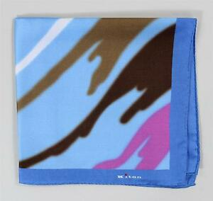Kiton Napoli New Pocket Square Blue Pink Brown White 100% Silk Hand Stitched