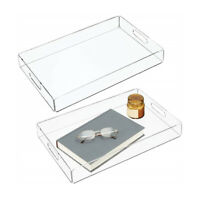 Rectangle Clear Acrylic Serving Trays with Handle for Beverage,Fruit,Cake,Toys