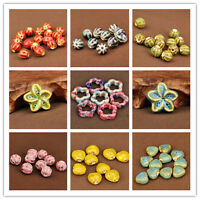 New 5pcs Mixing Shape Ceramic Porcelain Loose Spacer Big Hole Beads Jewelry