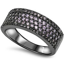 Three Colors Cubic Zirconia Wedding Band .925 Sterling Silver Ring Sizes 5-10