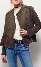 Free People OB480752 Military Ruffle-Hem Long Sleeve Jacket in Olive Medium
