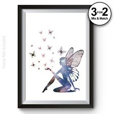 Fairy Tinker Bell Wall Art Print, Fantasy Disney Galaxy 100% Cotton Poster