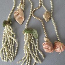 Antique FLAPPER c1920s Dress Ornament SEED PEARL Tassel SILK Ribbonwork Flowers