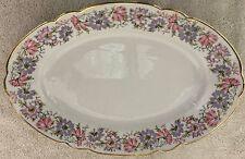 "Cmielow Poland Platter 13 1/4"" Roulette Pink Lavender Flowers Scalloped Serving"