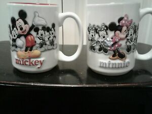 Pair Of Mickey Mouse & Minnie Mouse Mugs Cups 3D Authentic Disney Parks New