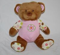 "Yangzhou Hengan TEDDY BEAR 9"" Pink Ears Plush Flower Polka Dots Soft Toy Stuffed"
