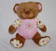 "Soft Toy TEDDY BEAR 9"" Pink Plush Flower Polka Dots Stuffed Yangzhou Hengan"