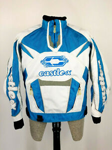 Castle X Snowmobile Rider Jacket Lightweight Pullover Blue White Womens Small