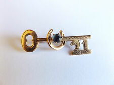 ANTIQUE RODD 9ct 9k GOLD SAPPHIRE GOOD LUCK 21st BIRTHDAY KEY BROOCH or PENDANT