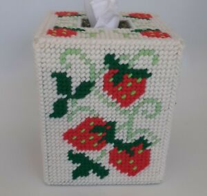 Vintage Needlepoint Square Strawberries Tissue Box Cover Hand Made Strawberry