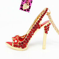 Betsey Johnson Enamel Crystal Flower High-heeled Shoes Pendant Chain Necklace