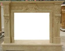 Marble Fireplace Mantel features Shield Crest Styling, Beige Color