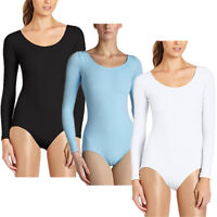 Women Girls Long Sleeves Gymnastics Ballet Dance Bodysuit Top Leotard Unitard