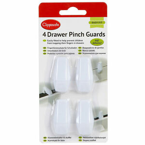 4NO SELF ADHESIVE Drawer Pinch Guards Kitchen Bedroom Wardrobe Drawer clippasaf