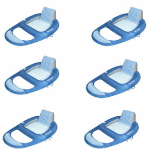 Kelsyus Floating Pool Lounger Inflatable Chair w/ Cup Holder, Blue (6 Pack)