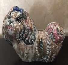 JUDITH LEIBER Couture Swarovski Crystal Shih Tzu Dog Evening Clutch Bag $5995