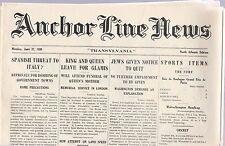 "ANCHOR LINE NEWS ""TRANSYLVANIA"" NORTH ATLANTIC EDITION,JUNE 27, 1938"