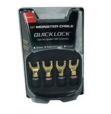 Monster Cable Quicklock Angled Gold Spades Speaker Wire Connectors (2 Pair)
