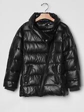 GAP GIRLS BLACK SHINE MOTO PUFFER JACKET ORG. $88.00 SIZE 8 BNWT